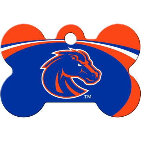 Quick-Tag Boise State NCAA Bone Personalized Engraved Pet ID Tag, Large
