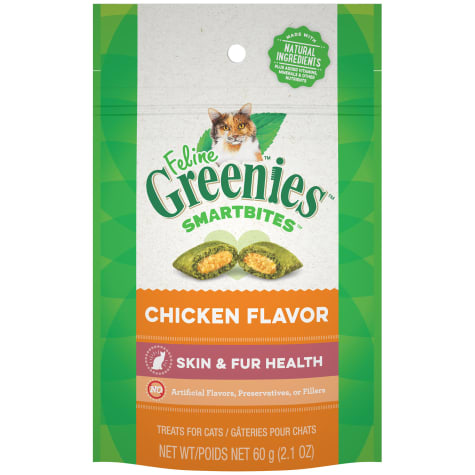 Feline Greenies Smartbites Skin And Fur Natural Chicken Flavor Cat Treats
