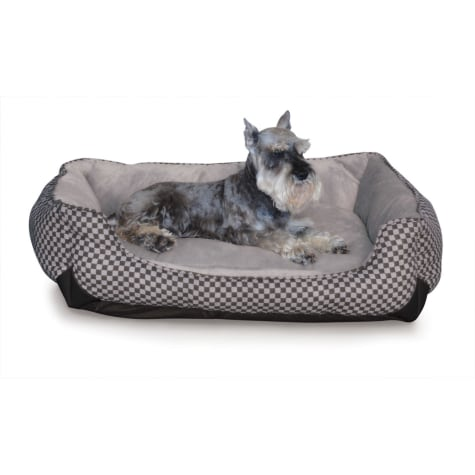 K&H Self-Warming Lounge Sleeper Dog Bed in Black Squares