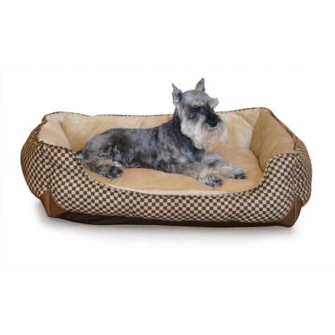 K&H Self-Warming Lounge Sleeper Dog Bed in Brown Squares