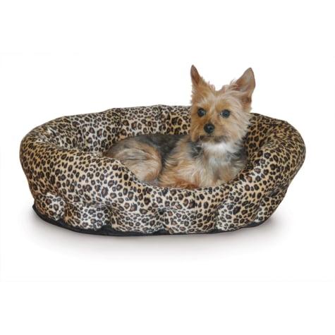 K&H Self-Warming Nuzzle Nest Dog Bed in Brown Leopard