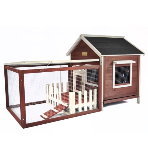 Advantek The White Picket Fence Rabbit Hutch in Auburn & White