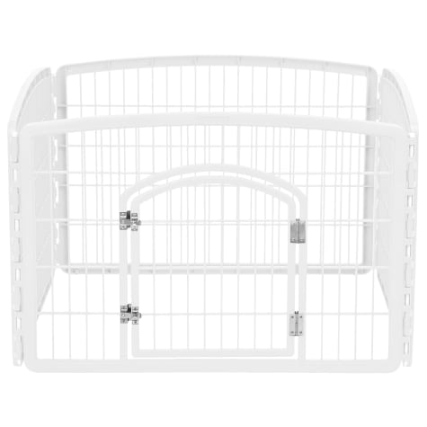 Iris White Four Panel Pet Containment and Exercise Pen with Door
