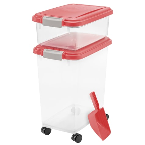 Iris Garnet Red and Clear Airtight Three Piece Food Storage Combo