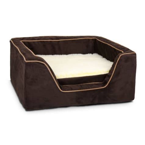 Snoozer Luxury Square Bed with Memory Foam in Hot Fudge with Cafe Cording