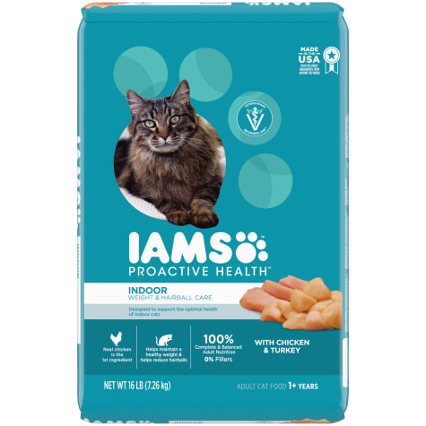 Iams Proactive Health Adult Indoor Weight & Hairball Care With Chicken & Turkey Dry Cat Food