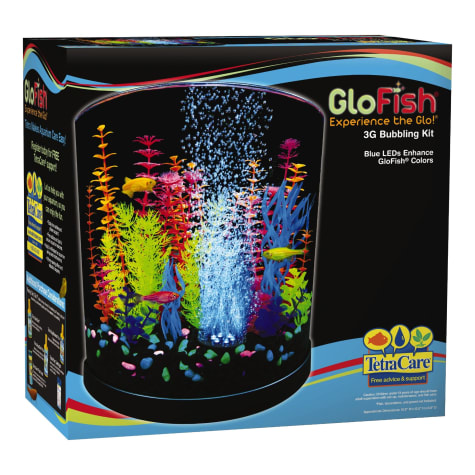 GloFish Half-Moon Bubbling With Blue LED Bubbler Aquarium Kit 3 Gallons