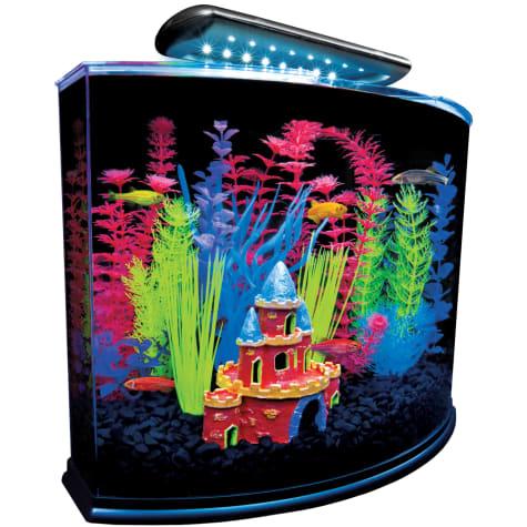 GloFish Crescent Hidden Blue LED Light & Internal Filter Aquarium Kit 5 Gallons