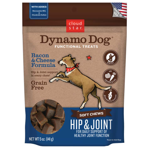 Cloud Star Dynamo Dog Soft Chews Hip & Joint Bacon & Cheese Dog Treats