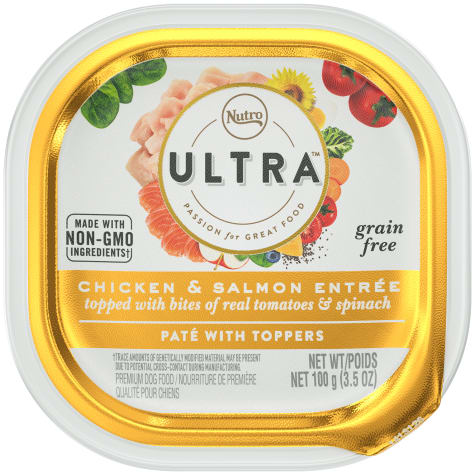 Nutro Ultra Grain Free Pate Chicken & Salmon Entree with Bites of Tomatoes & Spinach Adult Wet Dog Food