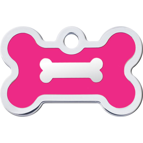 Quick-Tag Pink Epoxy Chrome Bone Personalized Engraved Pet ID Tag, Small