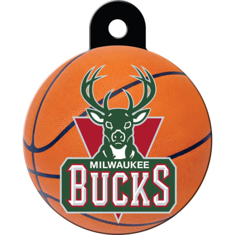 Quick-Tag Milwaukee Bucks NBA Circle Personalized Engraved Pet ID Tag, Large