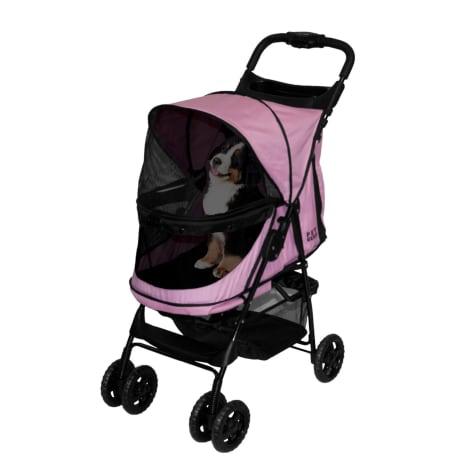 Pet Gear Happy Trails No-Zip Pet Stroller in Pink Diamond