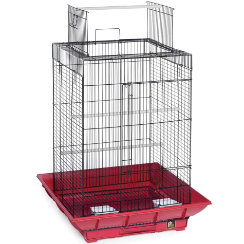 Prevue Pet Products Clean Life Series Playtop Bird Cage in Red & Black