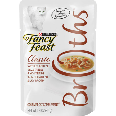 Fancy Feast Broths Classic With Chicken, Vegetables & Whitefish Wet Cat Food Complement
