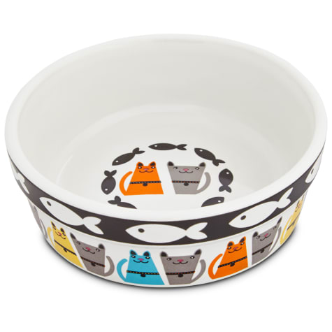 Harmony Tough Guys Ceramic Cat Bowl