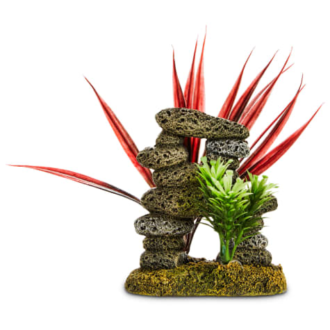 Imagitarium Stacked Stones & Plants Aquarium Ornament