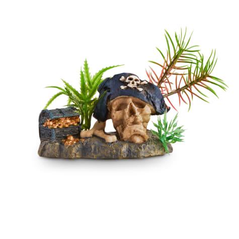 Imagitarium Pirate Skull with Plant Aquatic Decor