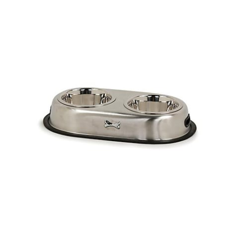 Harmony Brushed Stainless Steel No-Tip Double Diner, 3.5 Cup