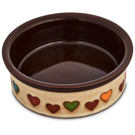 Harmony Heart Print Brown Ceramic Dog Bowl