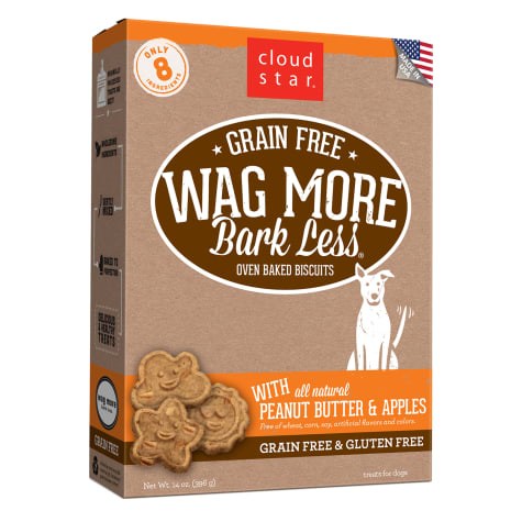 Cloud Star Wag More Bark Less Oven Baked Grain Free Peanut Butter & Apples Dog Treats