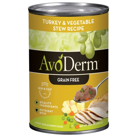 AvoDerm Natural Grain Free Turkey & Vegetable Stew Recipe Canned Wet Dog Food