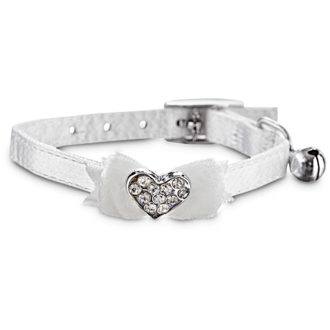 Bond & Co White Fancy Bow & Gem Kitten Collar