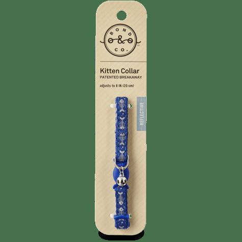 Bond & Co Blue Fishbone Print Kitten Collar