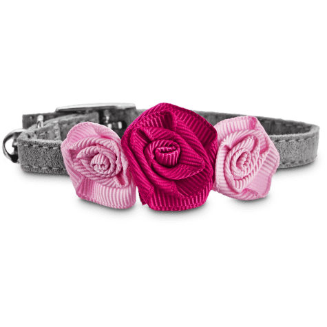 Bond & Co Fancy Gray Kitten Collar with Pink Bow