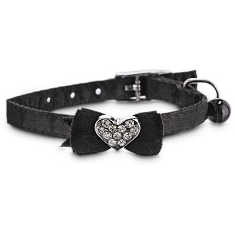 Bond & Co Black Fancy Bow Gem Kitten Collar