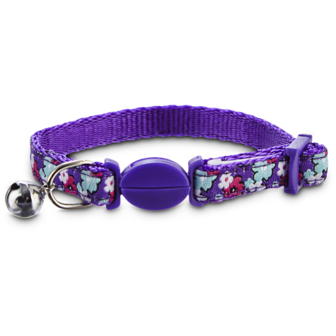 Bond & Co Purlple Flower Print Kitten Collar