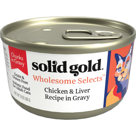 Solid Gold Wholesome Selects Chicken and Liver Recipe in Gravy Holistic Grain Free Canned Adult Cat Food