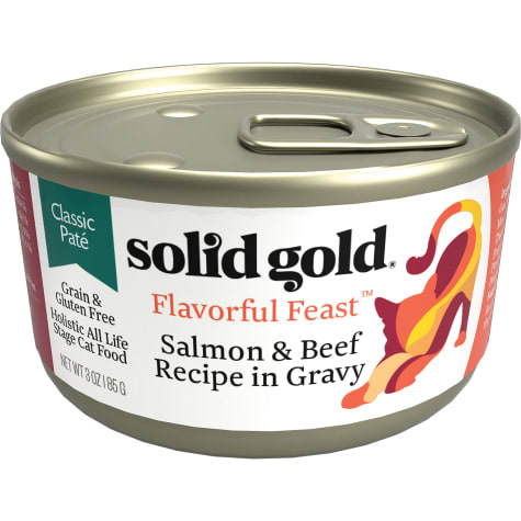 Solid Gold Flavorful Feast Salmon & Beef Recipe in Gravy Holistic Grain Free Canned Cat Food