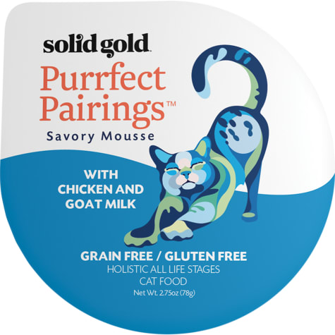 Solid Gold Purrfect Pairings Savory Mousse Grain Free Wet Cat Food, Chicken and Goat Milk