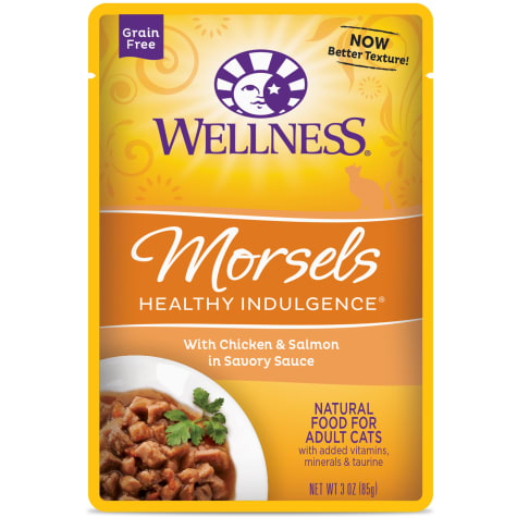 Wellness Healthy Indulgence Natural Grain Free Morsels With Chicken & Salmon in Savory Sauce Wet Cat Food