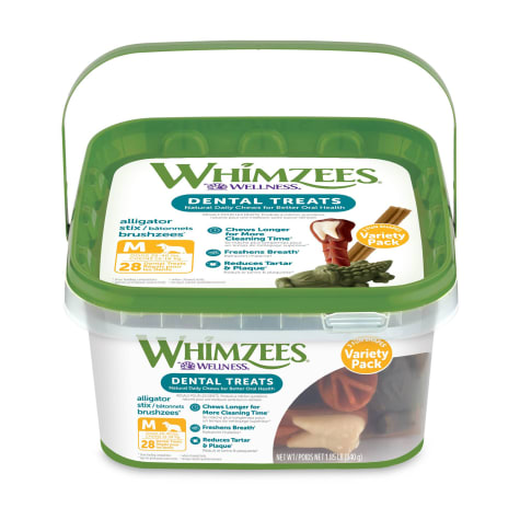 Whimzees Medium Variety Dog Treats Container