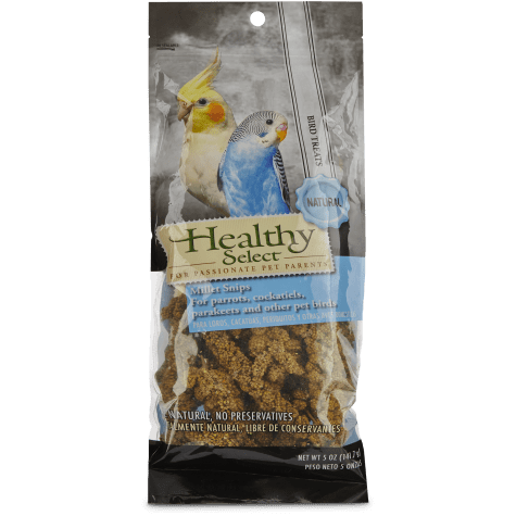 Healthy Select Millet Snips for Parrots, Cockatiels, Parakeets and Other Pet Birds