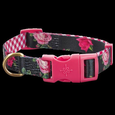Good2Go Pink Rose Print Dog Collar in Black