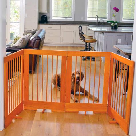 Cardinal Gates 4-Panel Freestanding Pet Gate, Oak