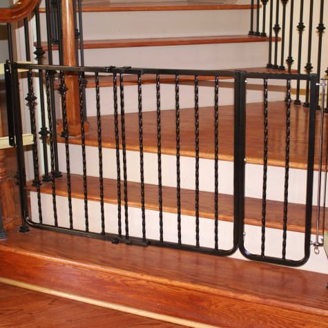 Cardinal Gates Extension for Wrought Iron Decor Gate, Black