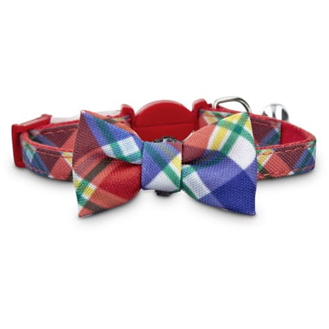 Bond & Co. Red Plaid Kitten Bow Tie Collar
