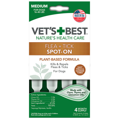 Vet's Best Topical Flea & Tick Treatment for Dogs 16 to 40 lbs.
