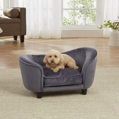 Enchanted Home Pet Dark Grey Ultra Plush Snuggle Pet Sofa