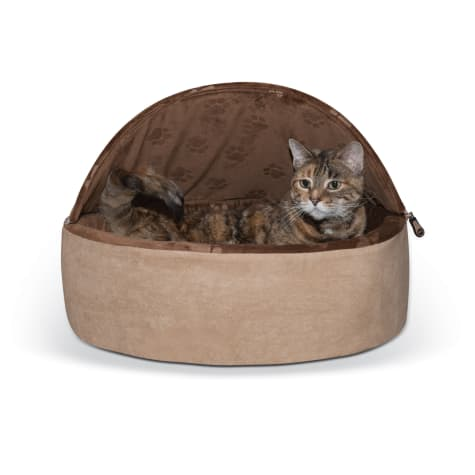 K&H Chocolate and Tan Self Warming Hooded Cat Bed