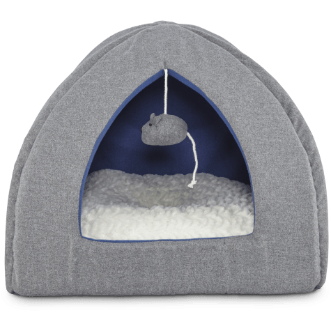 Harmony Hooded Igloo Cat Bed in Grey