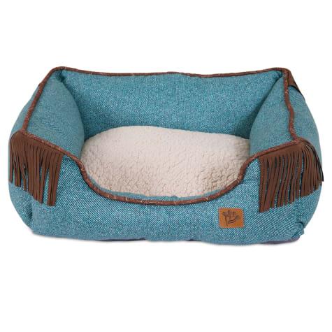 Mutt Nation Fueled by Miranda Lambert Lambswool Corner Fringe Cuddler Dog Bed in Denim Blue