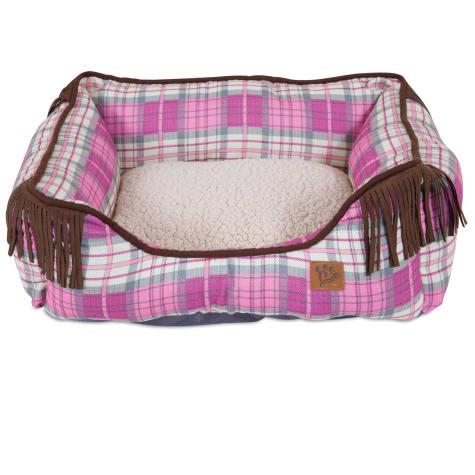 Mutt Nation Fueled by Miranda Lambert Lambswool Corner Fringe Cuddler Dog Bed in Pink Plaid