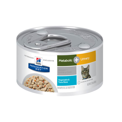 Hill's Prescription Diet Metabolic + Urinary, Weight + Urinary Care Vegetable & Tuna Stew Canned Cat Food