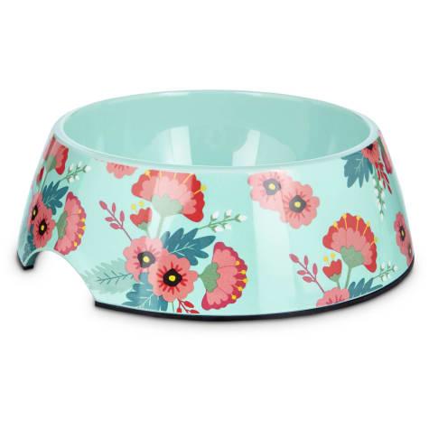 Bowlmates Pink and Teal Floral Single Dog Bowl Base