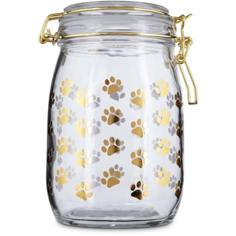 Harmony Gilded Paw Glass Pet Treat Jar